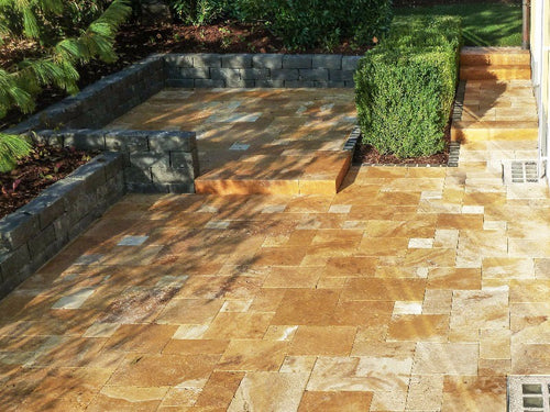 French Pattern Travertine Paver Gold