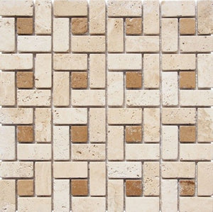 "1"" x 2"" Noce/ Light Square Pattern Tumbled Travertine Mosaic Tile - MO1022"