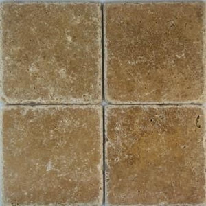 "6"" x 6"" Noce Tumbled Travertine Mosaic Tile - MO1040"
