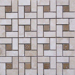 "12"" x 12"" Spiral Dots Noce Honed/ Filled Tumbled Mosaic Travertine Tile - MO1046"