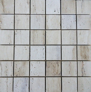 "2"" x 2"" Polished Patara Honed Travertine Mosaic Tile - MO1063"