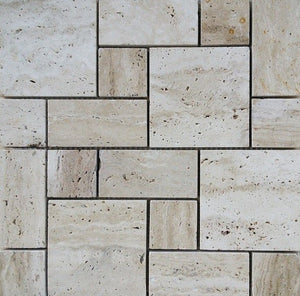 French Pattern Polished Travertine Mosaic Tile - MO1064