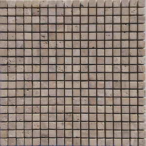 "5/8"" x 5/8"" Beige Tumbled Travertine Mosaic Tile - MO1071"