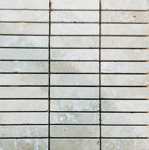 "1"" x 4"" Tumbled Light Travertine Mosaic Tile - MO1081"