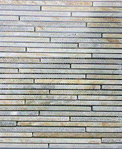 "12"" x 12"" Linear Autumn Slate Travertine Mosaic Tile - MO195"