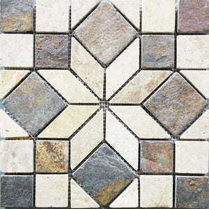 "12"" x 12"" Diamond Angle Slate Travertine Mosaic Tile - MO196"