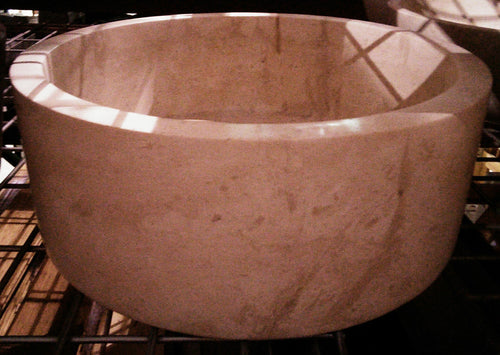Polished Travertine Vessel Sink with Straight Sides - Light Beige