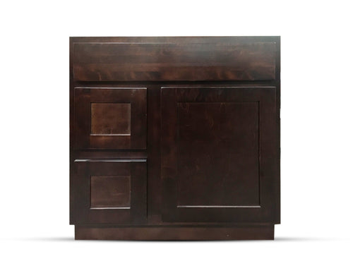 30 Inch Bathroom Cabinet Vanity Shaker Espresso Right Drawers