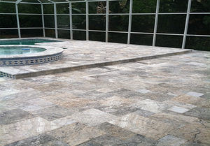 French Pattern Travertine Paver Silver