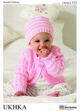 Load image into Gallery viewer, UKHKA Pattern 112: Cardigan, Hat & Blanket in DK