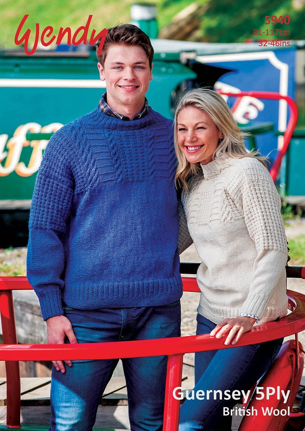 Wendy Pattern 5940: Sweater In Guernsey 5 Ply