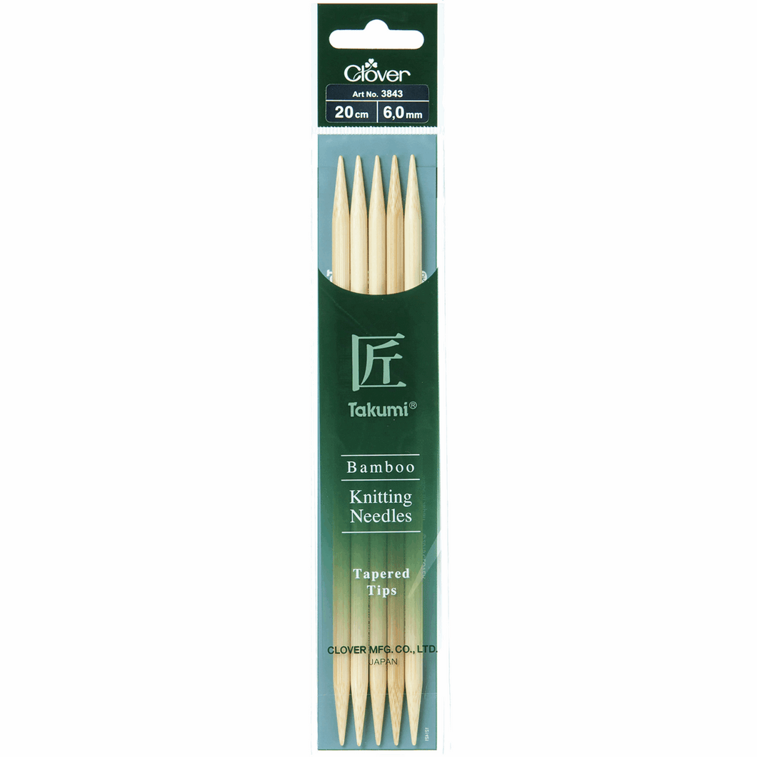 Clover Takumi Bamboo Double Pointed Needles 6.00mm 20cm