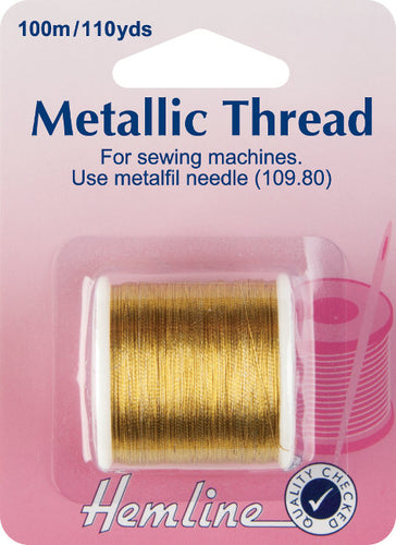 Hemline H242.G: Gold Metallic Thread 100m Reel