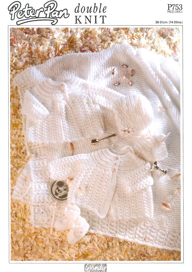 Peter Pan Pattern P753:  Lace Layette in DK
