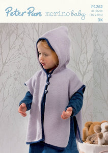 Peter Pan Pattern 1262:  Hooded Tabard in Merino Baby DK