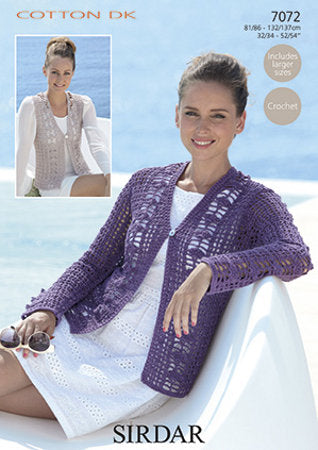 Sirdar Crochet Pattern 7072: Cardigan & Waistcoat in Cotton DK