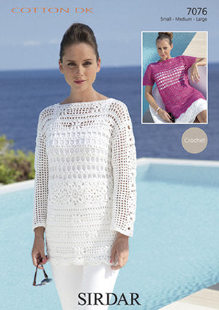 Sirdar Crochet Pattern 7076: Tunic in Sirdar Cotton DK