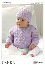 Load image into Gallery viewer, UKHKA Pattern 117: Cardigan, Sweater & Hat in DK