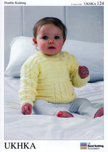 Load image into Gallery viewer, UKHKA Pattern 124: Cabled Sweater & Cardigan in DK