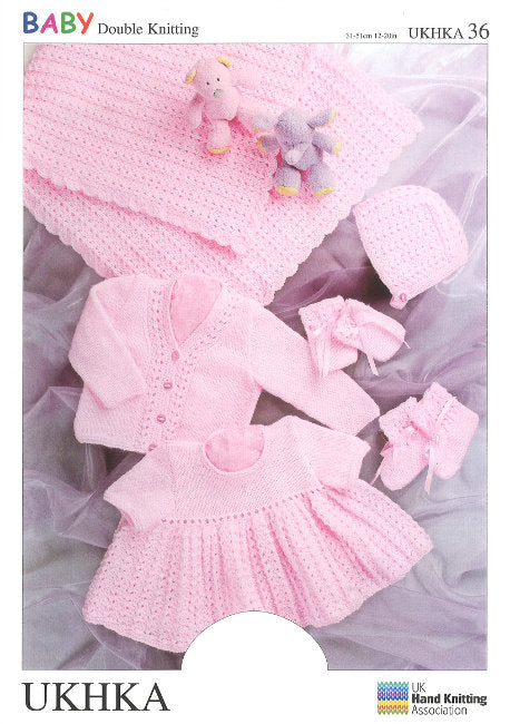 UKHKA Pattern 36: Crochet and Knit Baby Set in DK