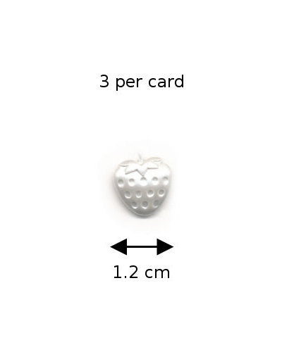 Coats Buttons 075: White Pearlescent Strawberries (3 on a card)
