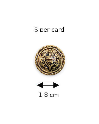 Coats Buttons 139: Antique Gold with Shield (3 on a card)