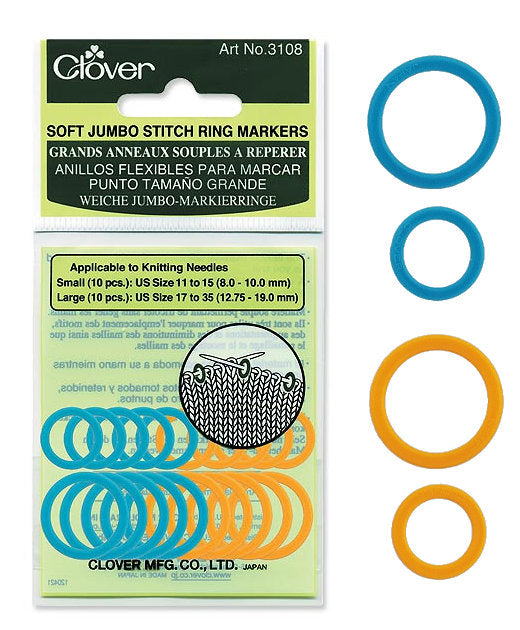 Clover Jumbo Soft Ring Stitch Markers: CL3108