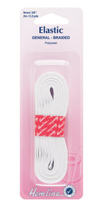 Hemline H620.9: General Purpose Elastic Braided White 2m x 9mm
