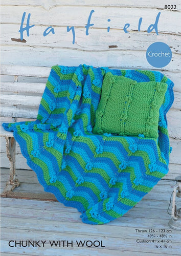 Hayfield Crochet Pattern 8022: Throw & Cushion in Chunky