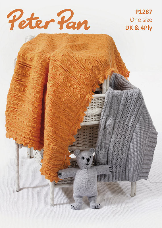 Peter Pan Pattern 1287: Blanket, Bear & Shawl in DK & 4 Ply