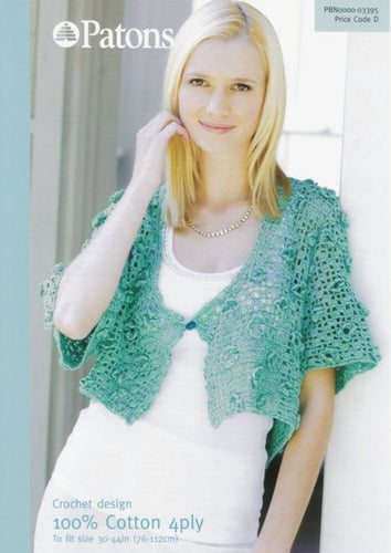 Patons Crochet Pattern 3395:  Cardigan in 100% Cotton 4 Ply