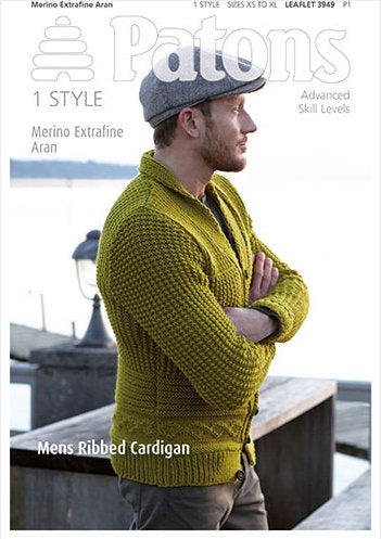 Patons Pattern 3949: Ribbed Cardigan in Merino Extrafine Aran