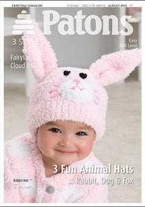 Patons Pattern 3975: Animal Hats in Fairytale Cloud DK