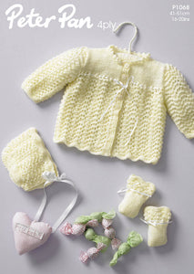 Peter Pan Pattern 1068: Jacket, Bonnet & Mittens in 4 Ply