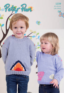 Peter Pan Pattern 1239:  Mouse & Shark Sweaters in DK