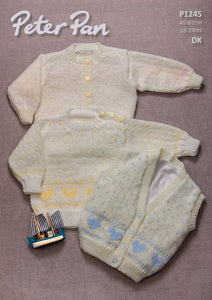 Peter Pan Pattern 1245: Sweater, Cardigan & Waistcoat in DK