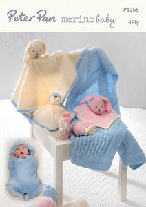 Peter Pan Pattern 1265: Swaddle Blanket & Accessories in 4 ply