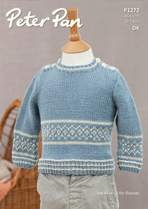 Peter Pan Pattern 1272: Sweater and Slipover in DK