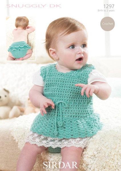 Sirdar Crochet Pattern 1297: Dress and Pants in Snuggly DK