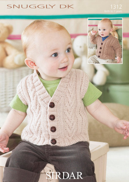 Sirdar Pattern 1312: Cardigan and Waistcoat in Snuggly DK