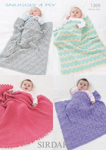 Sirdar Pattern 1369: Blankets in Snuggly 4 Ply