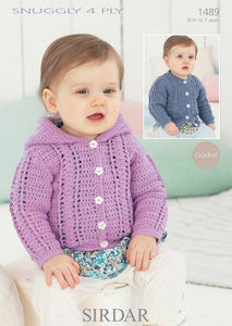 Sirdar Crochet Pattern 1489: Cardigan in Snuggly 4 Ply
