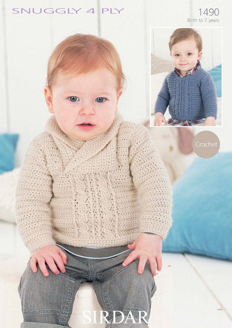 Sirdar Crochet Pattern 1490: Sweater in Snuggly 4 Ply