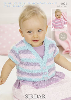 Sirdar Pattern 1924: Easy Knit Cardigan in Snowflake Chunky