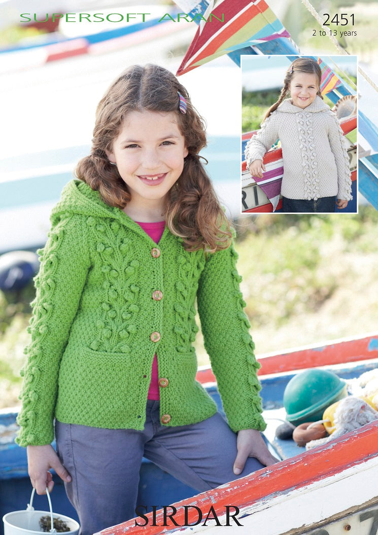 Sirdar Pattern 2451: Hooded Sweater and Jacket in Supersoft Aran