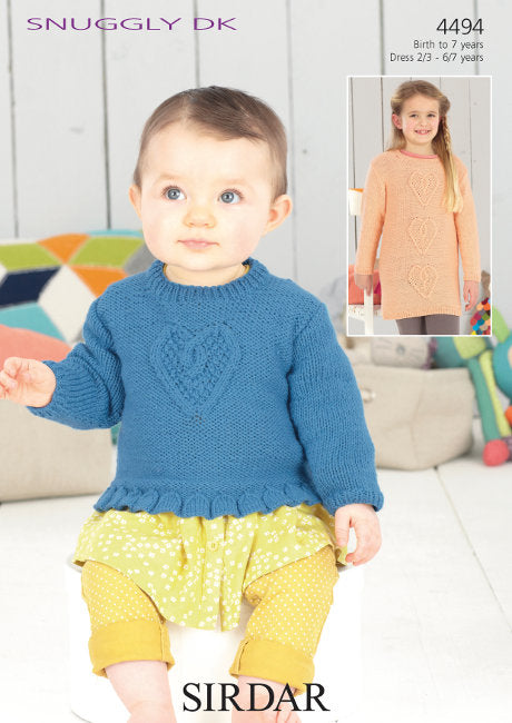 Sirdar Pattern 4494: Girls Sweater & Dress in Snuggly DK