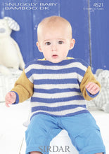 Load image into Gallery viewer, Sirdar Pattern 4521: Striped Sweater in Baby Bamboo DK