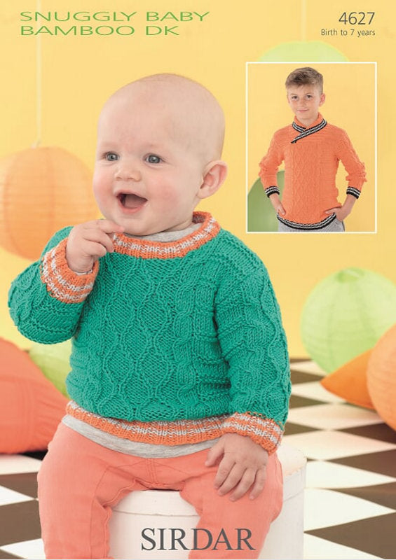 Sirdar Pattern 4627:  Sweater in Baby Bamboo DK
