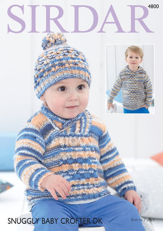 Sirdar Pattern 4800: Sweater and Hat in Baby Crofter DK