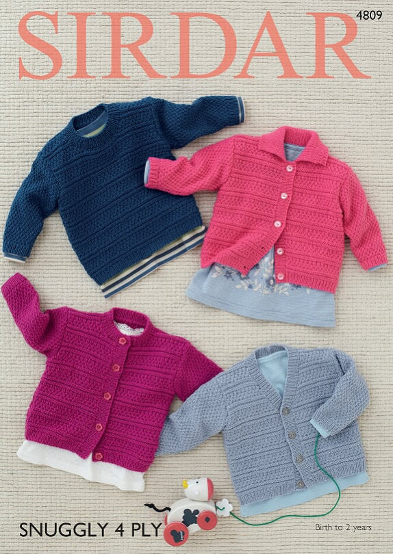 Sirdar Pattern 4809: Cardigans & Sweater in Snuggly 4 Ply